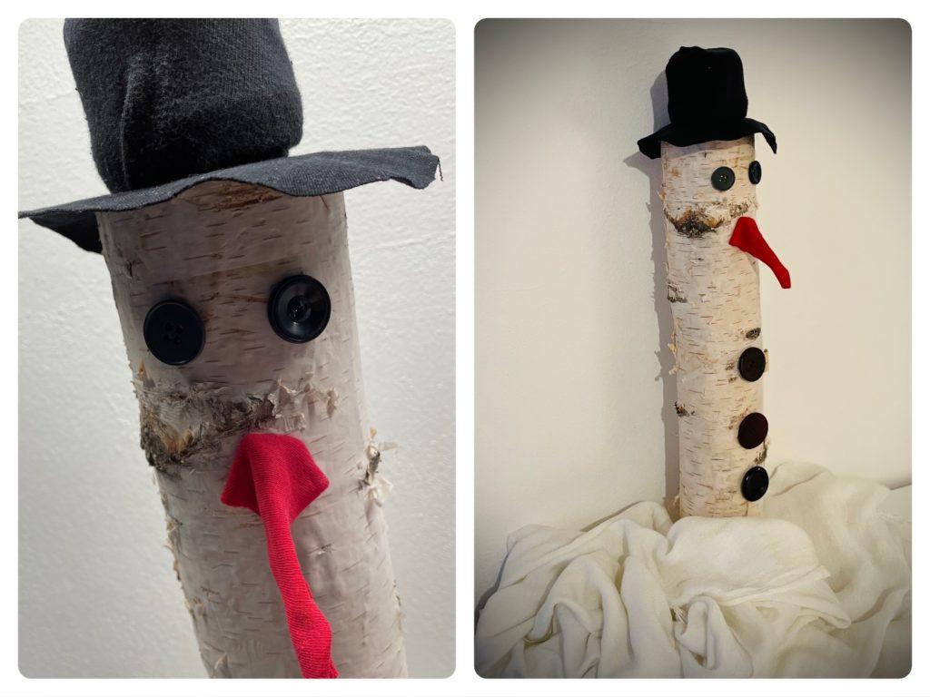 Schneemann aus Birkenstamm