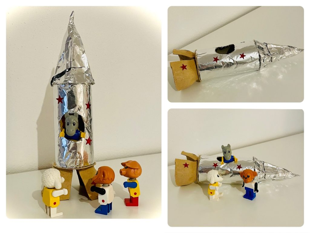 Rakete aus Papprolle & Eierkarton