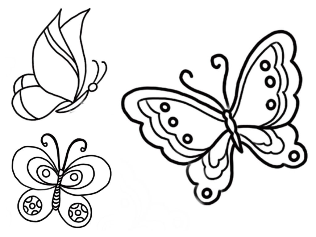 5 Ausmalbilder von Schmetterlingen