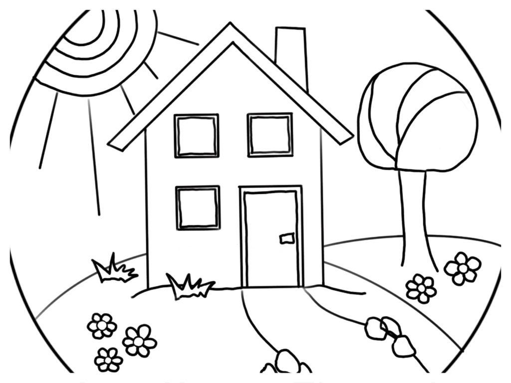 5 Ausmalbilder – Mandals zu Häusern