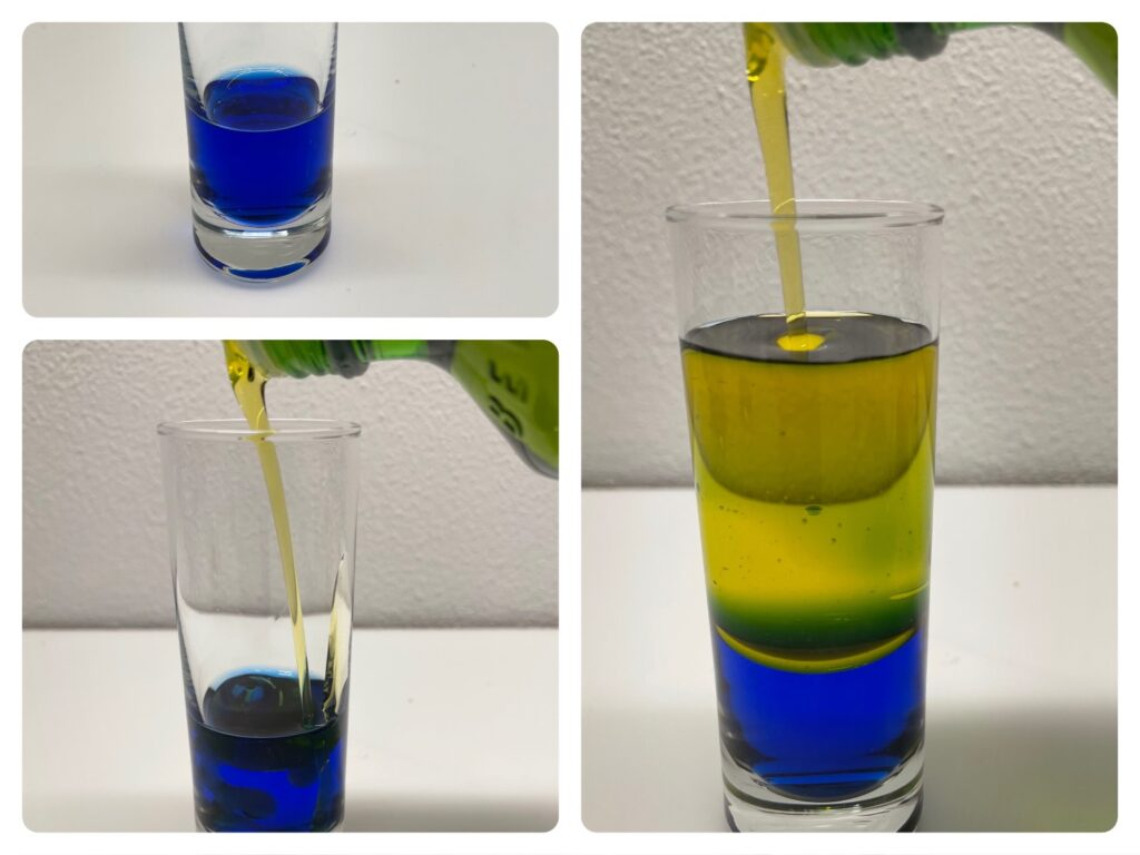 Experiment Wasser und Öl