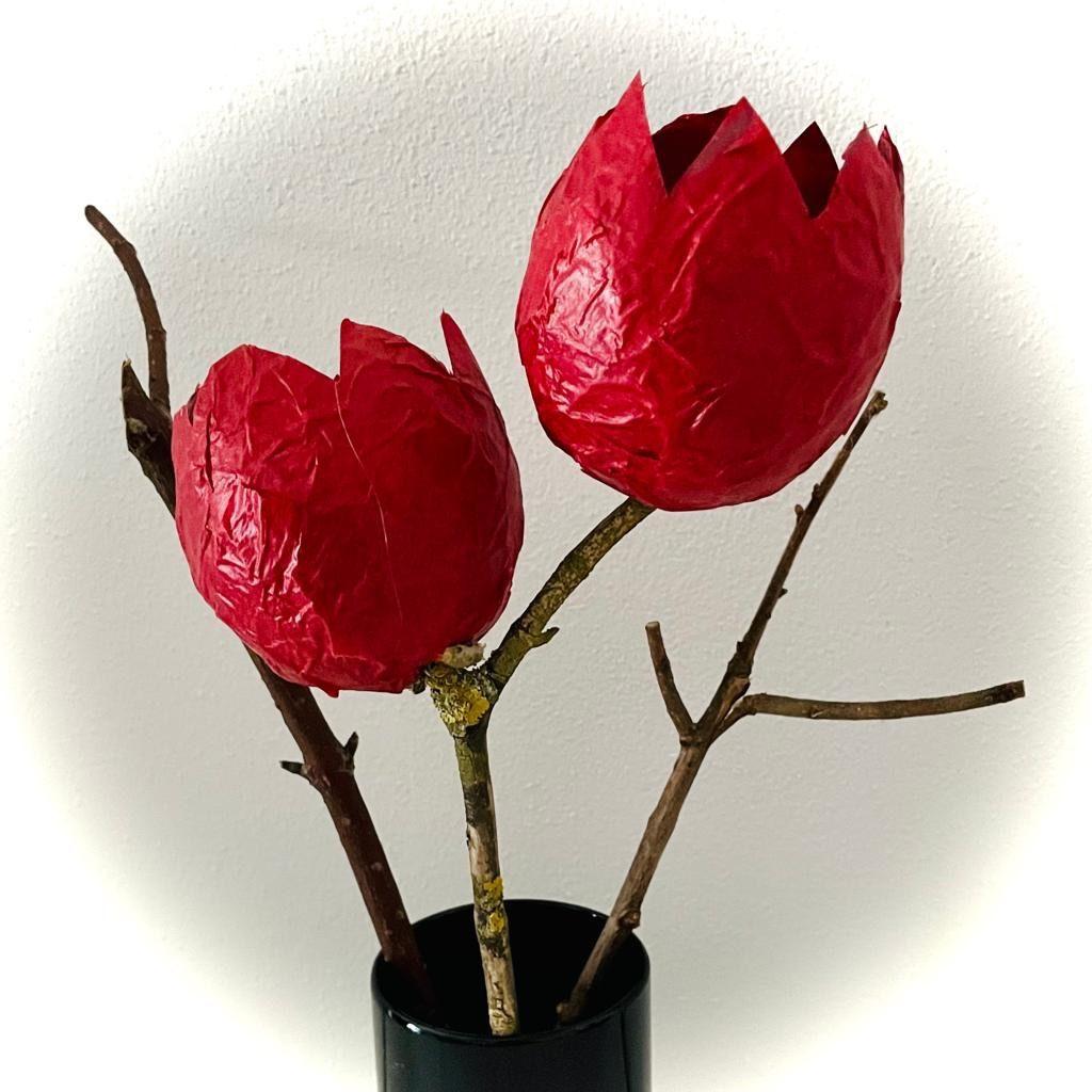 Tulpen aus Pappmaschee (mit Kleister-Rezept)