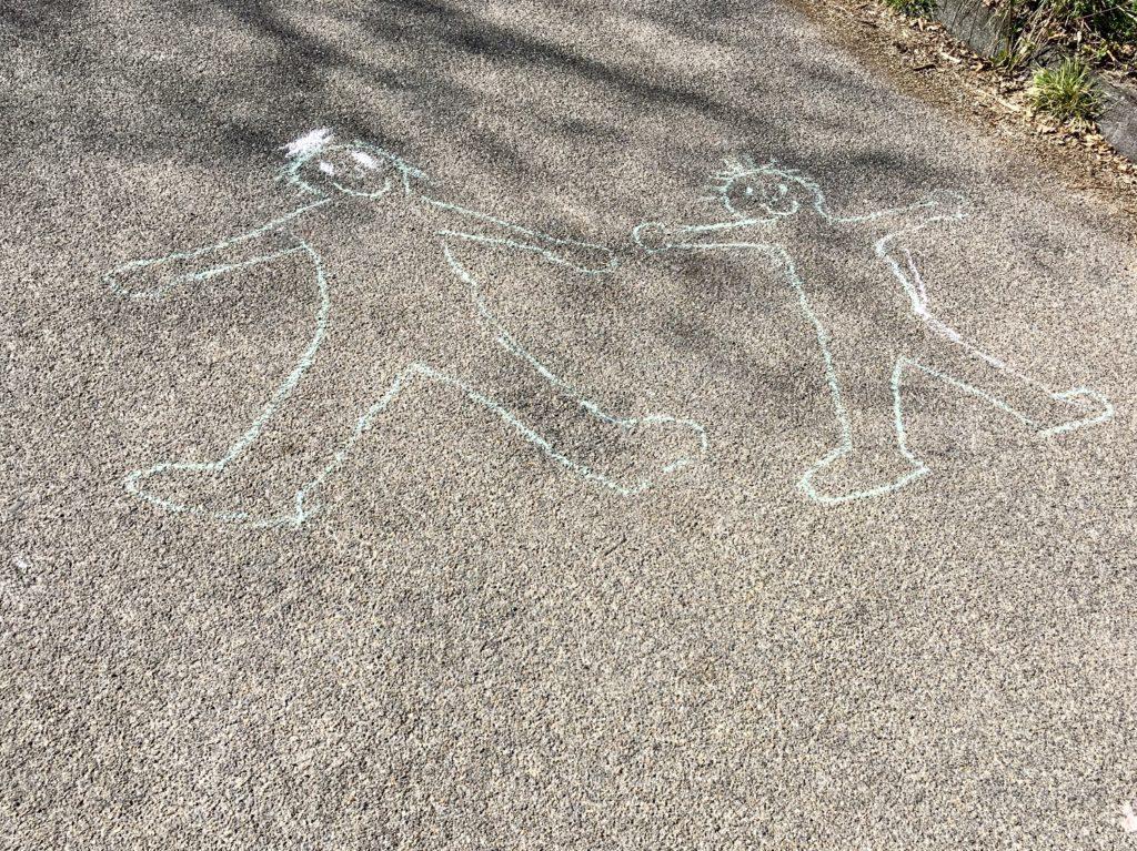 Sich selbst malen mit Straßenmalkreide
