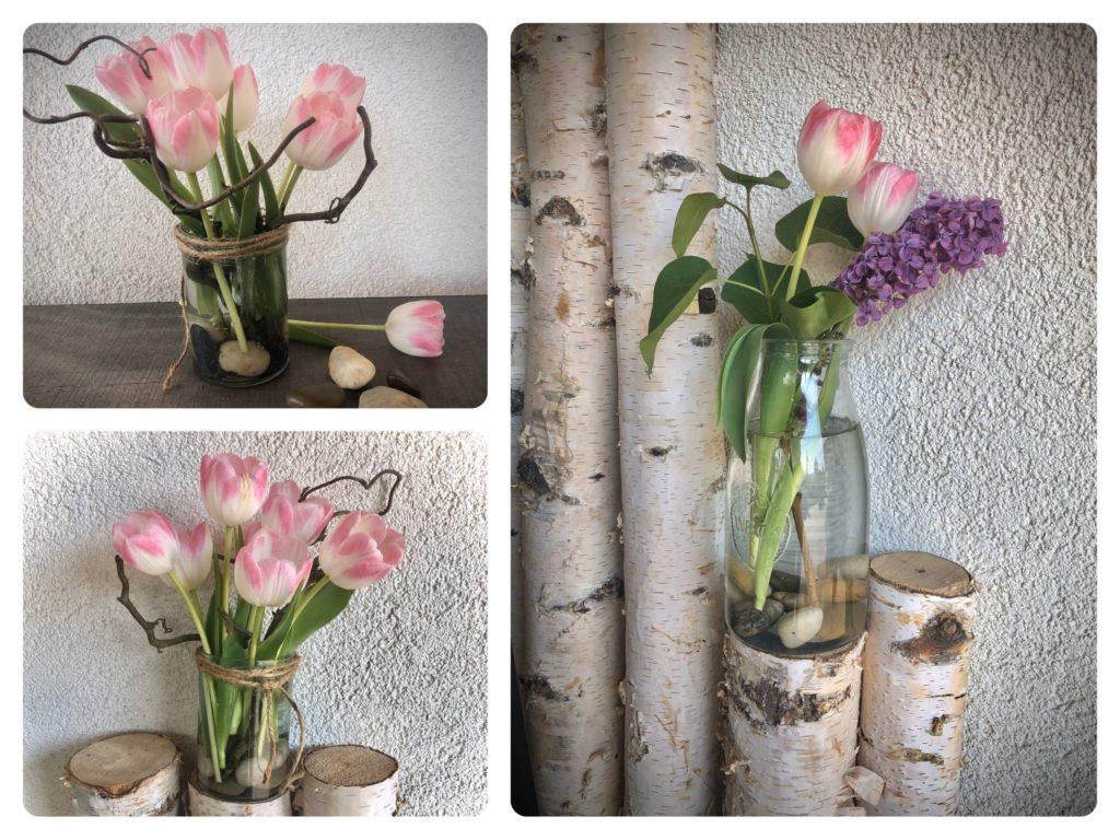 Blumenvase mit Steinen