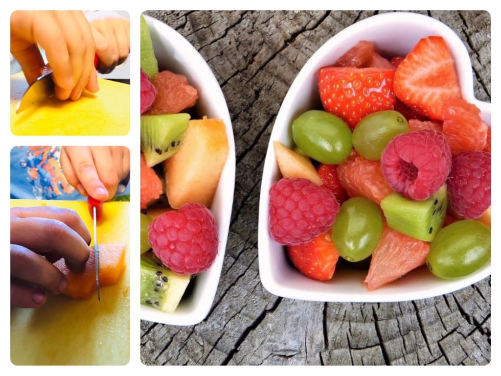 Obstsalat machen (inkl. Schneidemesser richtig halten)