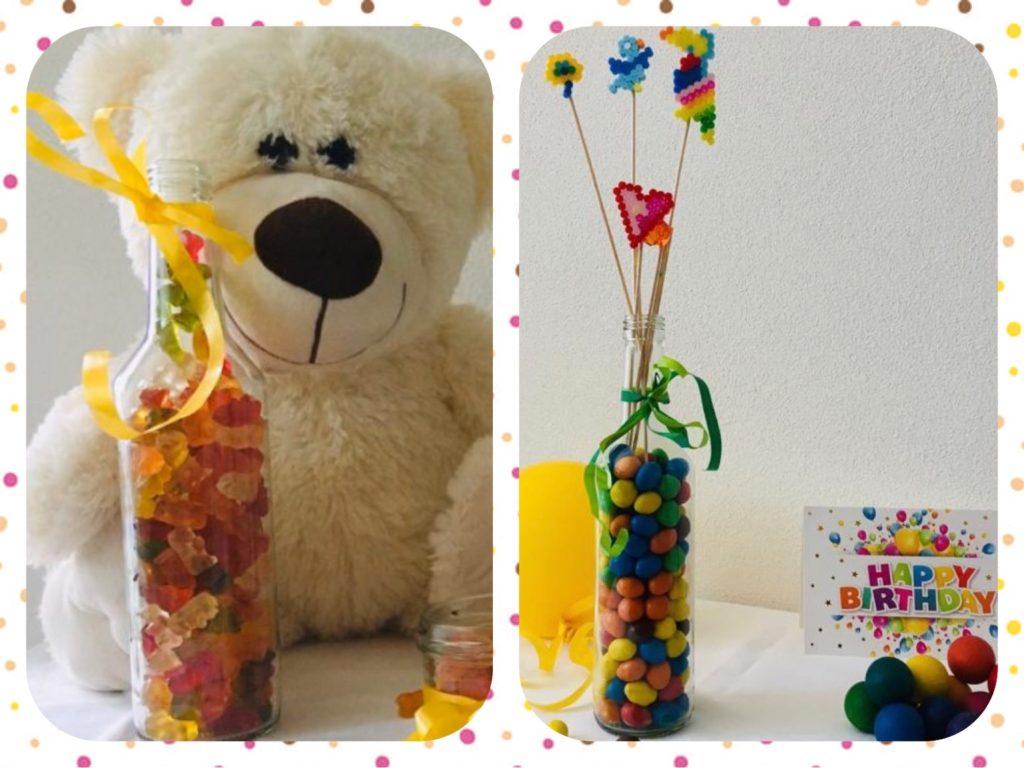 Gefüllte Flaschen für Kinder-Feiern