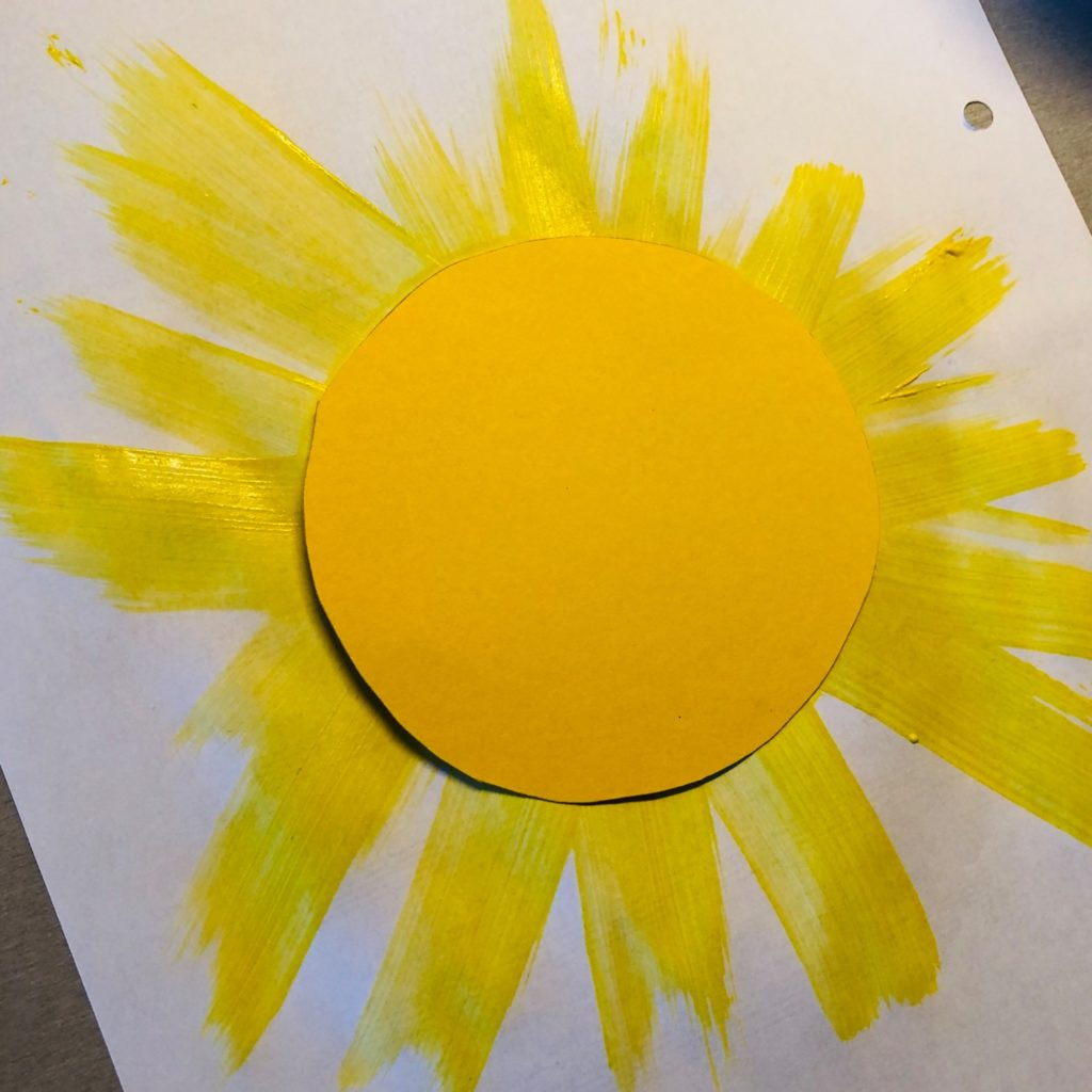 Sonne mit Strahlen: Wischtechnik