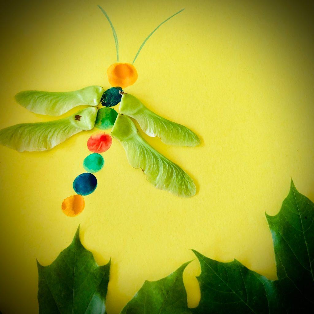 Basteln mit Ahornsamen und Blättern