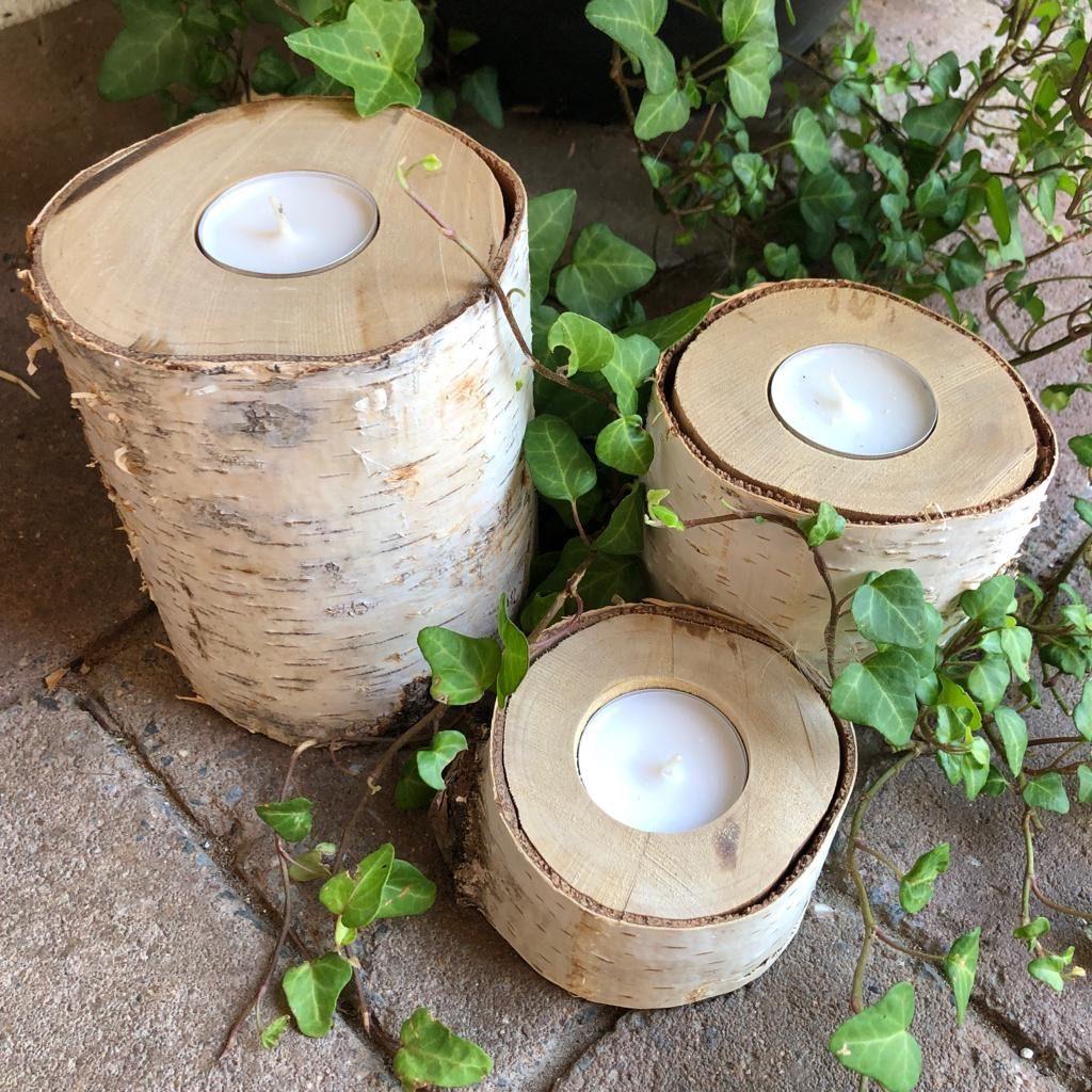 Kerzenhalter aus Birkenstämmen
