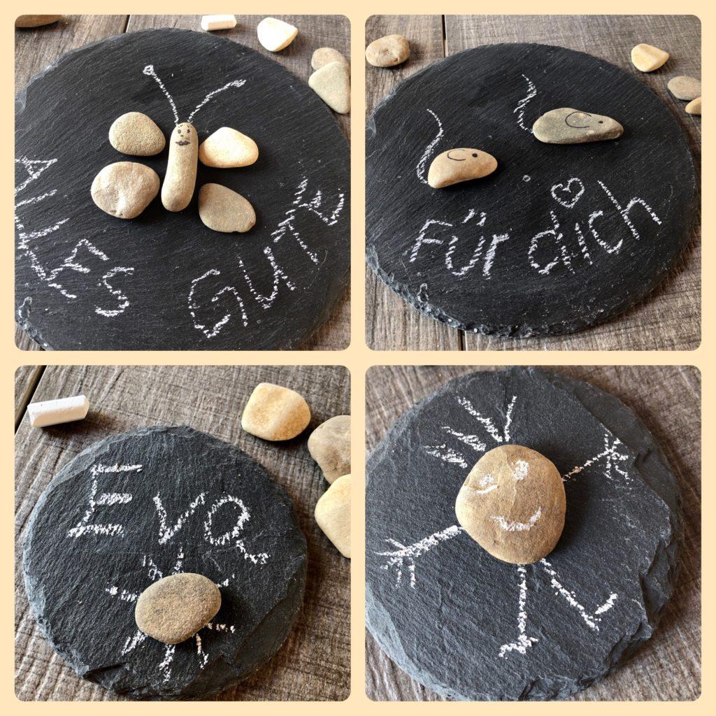 Stein-Bilder auf Schieferntafeln (4 Ideen)