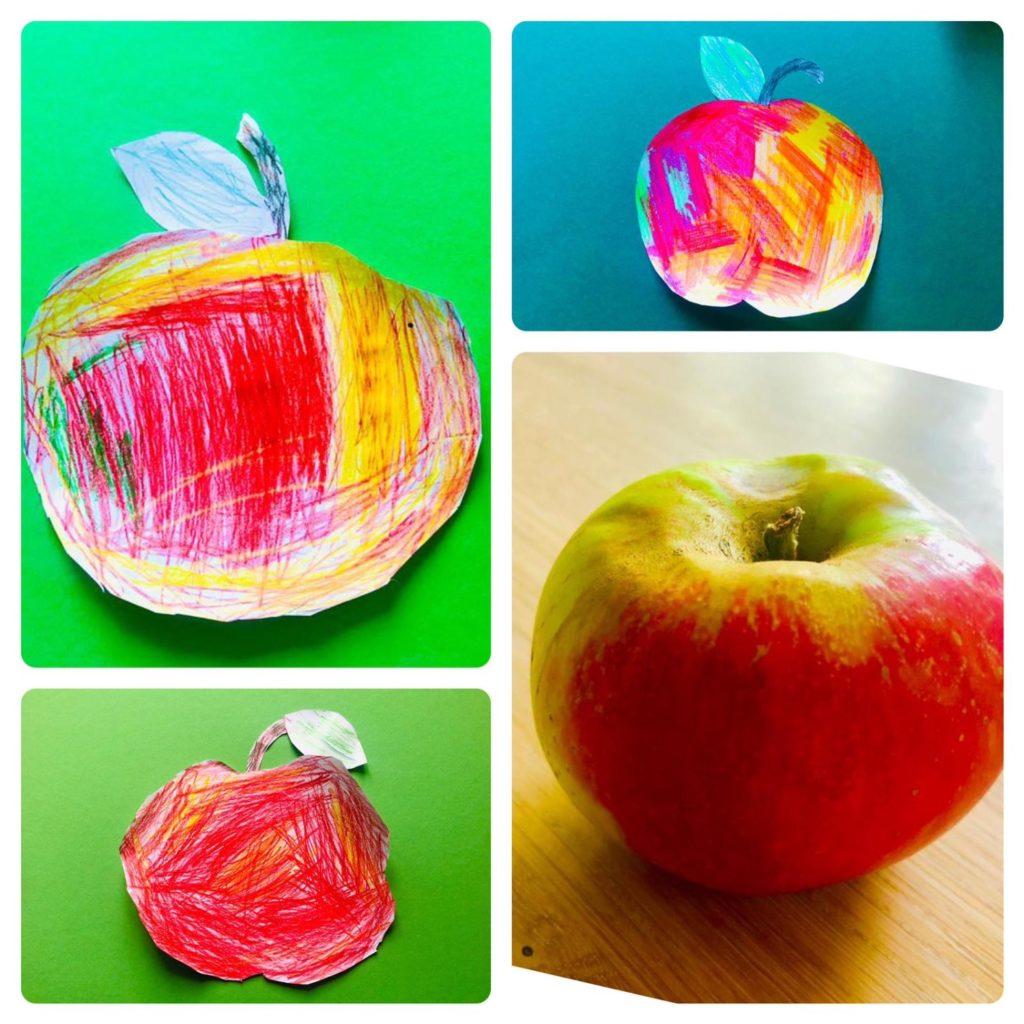 Apfel malen – am Model