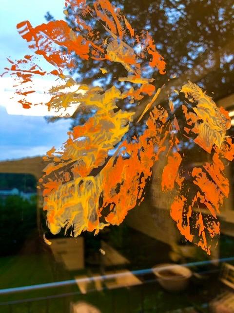 Herbstblätter Fensterbild