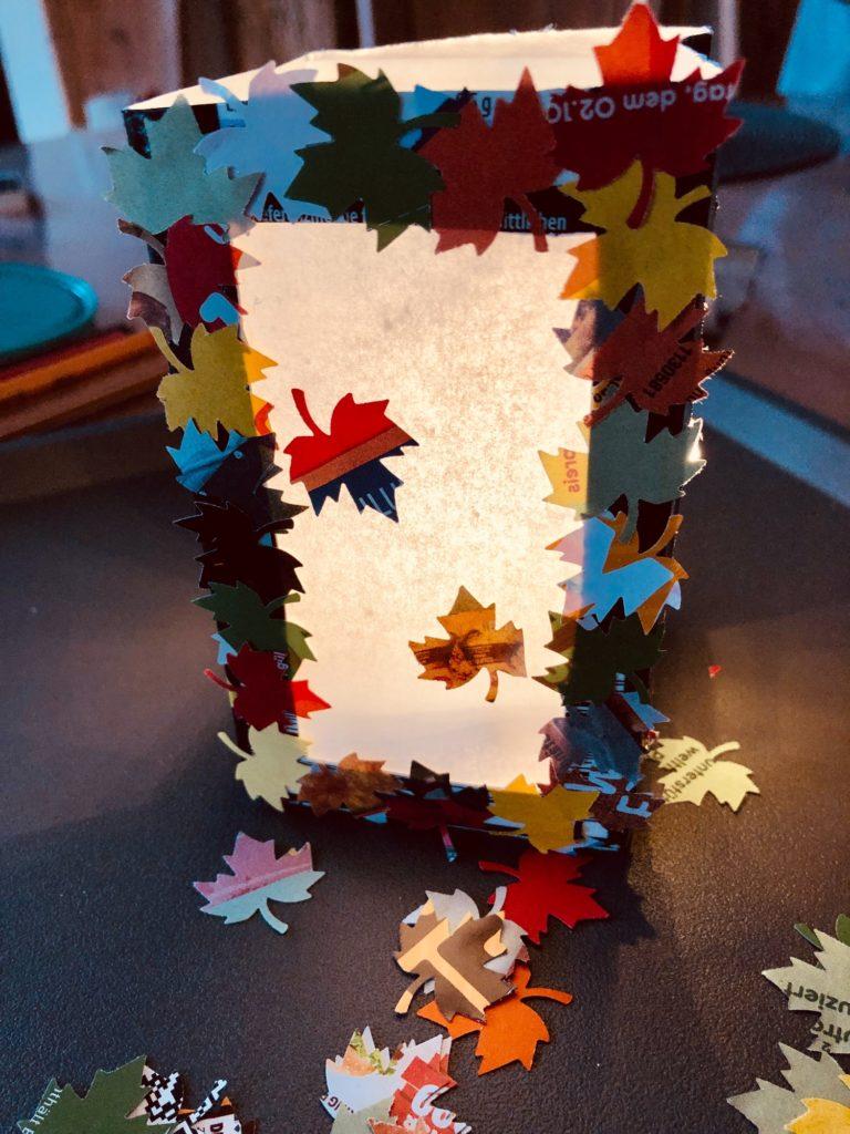Blätterlaterne (aus Tetrapack)
